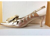 Ladies Gold sling- back shoes Size 4/37