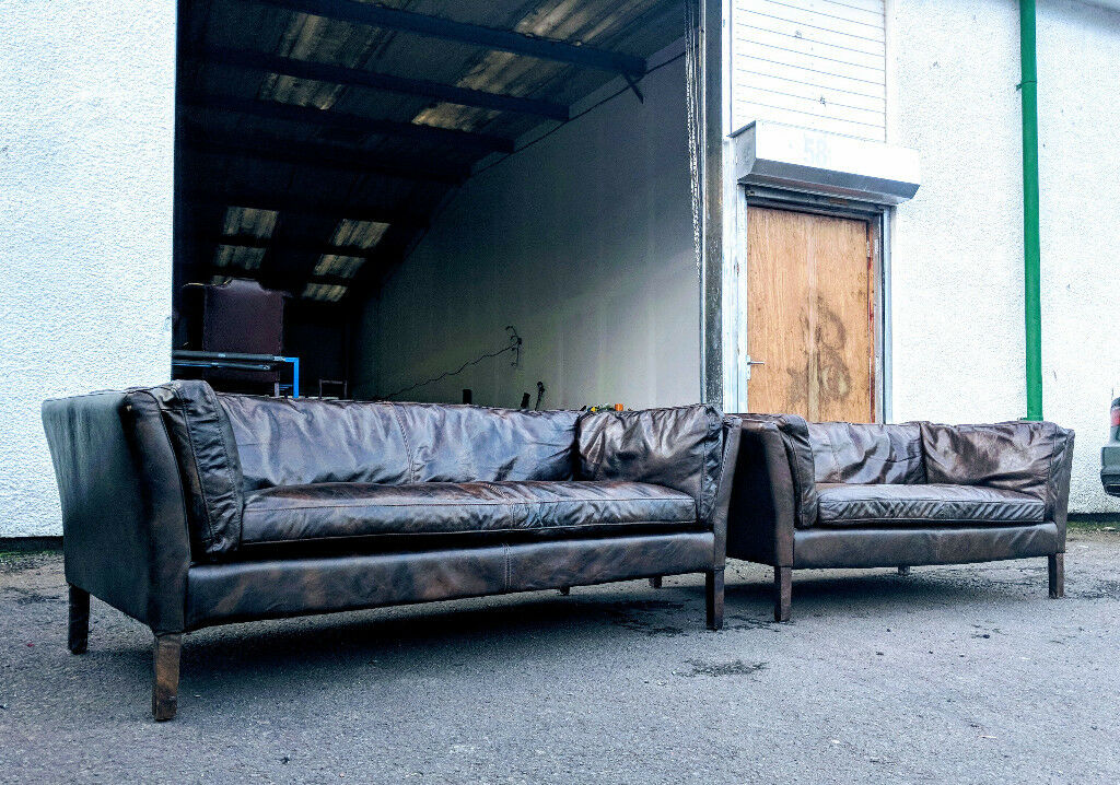 pics of distressed leather sofa | 3+2 Halo Groucho distressed retro leather sofas DELIVERY ...