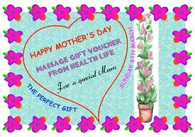 MOTHER'S DAY MASSAGE GIFT VOUCHER. The perfect gift for Mother's Day.