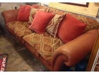 Leather and fabric Settee/sofa