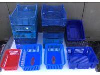 16x small plastic storage crates