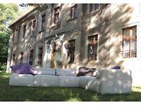 Modular sofa, corner to the garden and terrace.