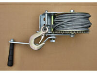 New Unused Hand Winch for a Trailer 1200lb pull rated - steel cable.