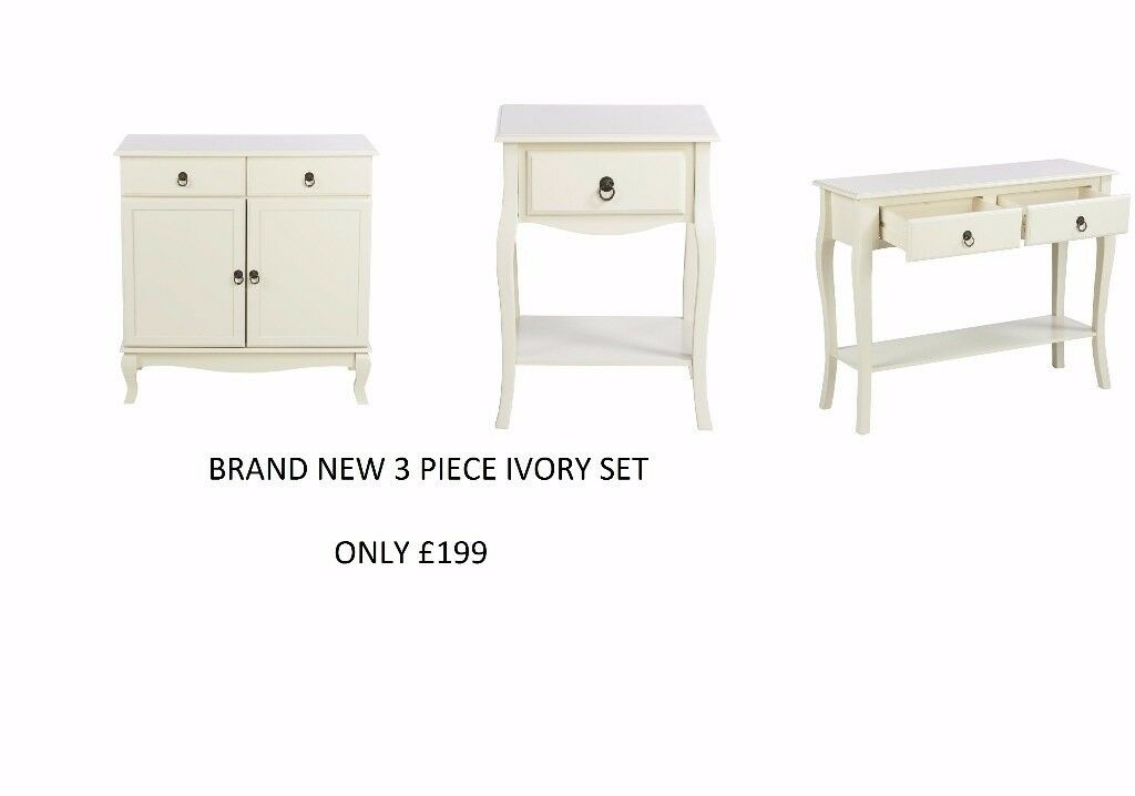 Classic French Style Living Room 3PC SET 2 Door Sideboard & Side Table & Console table in IVORY
