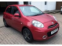 REDUCED LOW MILES 2013 Nissan Micra 1.2 Acenta, met red, MOT until 2017, 5 door, alloys, elec pack!