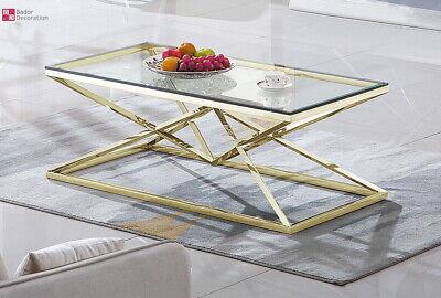 Diseño Mesita Baja Acero Inox. Oro Templado Cristal Mesa de Salón 120x60...
