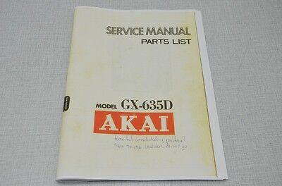 Photocopy Original Service Manual Akai GX-635D Tape Recorder (English)
