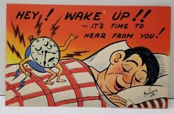 Comic Hey! WAKE UP!! Alarm Clock With Arms & Legs Signed Timmons Jr Postcard E10