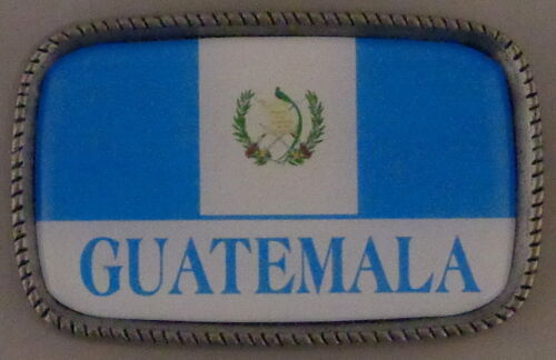 GUATEMALA FLAG Antique Silver Belt Buckle USA MADE Guatemalan
