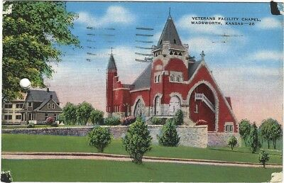 1940 Postcard - Veterans Facility Chapel, Wadsworth, Kansas