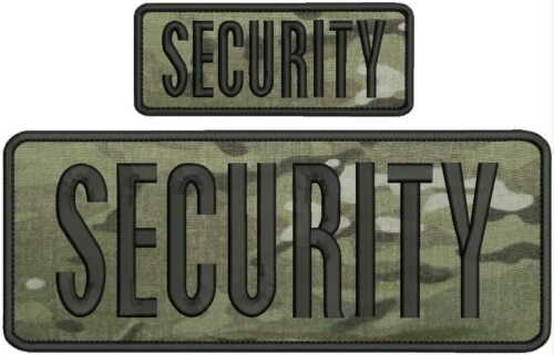 security embroidery Patches 4x10 and 2x5 hook ON BACK multicam