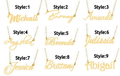 PERSONALIZED 14K GOLD PLATED NAME PLATE NECKLACE 9 Popular Styles Free US Ship   ()