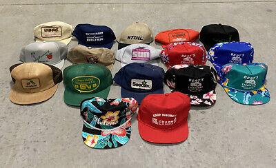 Vintage 80's Trucker Cap Lot Of 17 Snapback Hats Mixed Mesh
