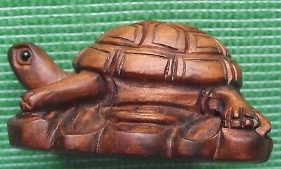 Japanese Fine Detailed Wood Hand Carved Treen Boxwood NetsukeTortoise Standing