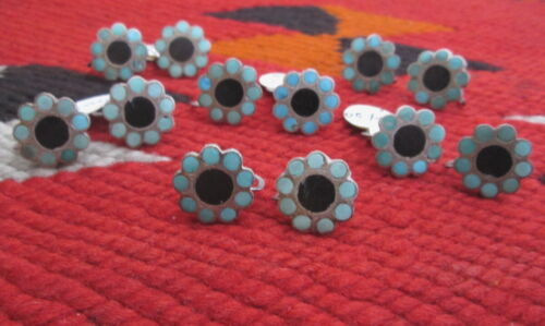 6 PAIRS of ZUNI DISHTA NEW OLD STOCK SILVER SCREWBACK EARRINGS, TURQUOISE & JET