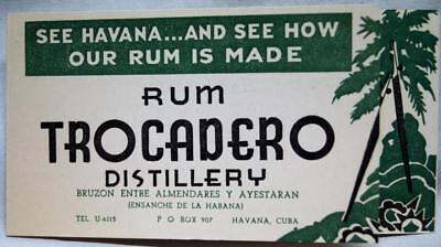 RUM TROCADERO DISTILLERY HAVANA CUBA ADVERTISING CARD WITH DRINK RECIPES VINTAGE