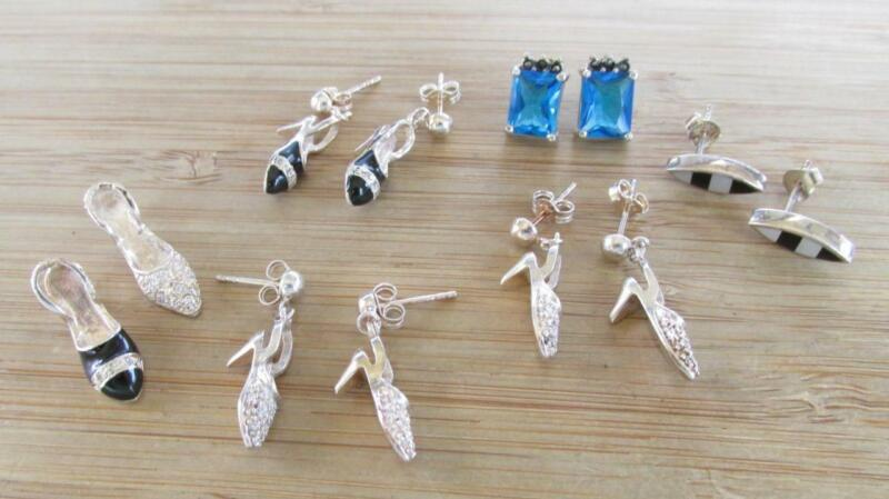 Mixed Lot of 5 Sterling Silver Earrings & 2 Pendants / Charms ~ 6-A9249