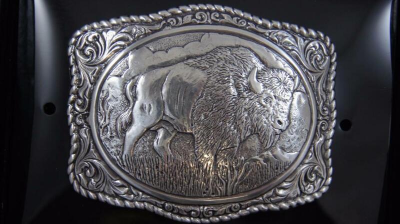 Crumrine Buffalo Western Belt Buckle Silver Tone 38058