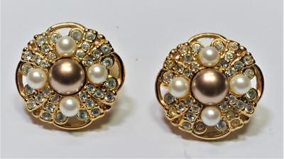 01c29f25fb36 Vintage Firmado Swarovski Tono Dorado Perlas Imitación Cristal  Transparente
