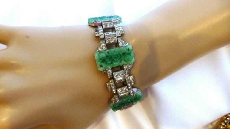 Rare Unsigned KTF Alfred Philippe MING Series Faux Jade Rhinestone BRACELET