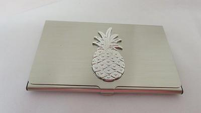 Solid Brass Silver Plated Business Card Holder Case With Pineapple Free Gift Box