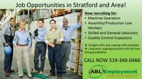 Now Hiring in Stratford- call 519-340-0466