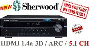 Sherwood RD6506 5.1 Ch 550w Amplifier AV Receiver Home Amp 3D Support HDMI - NEW