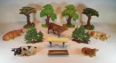 Elastolin / Lineol Masse Figuren Bauernhof heimische Tierwelt Kühe Bäume #106