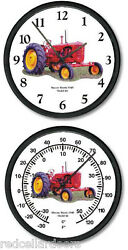 New MASSEY HARRIS MODEL 44 Wall Clock and Thermometer Set Vintage 1949 Tractor
