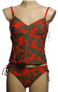NEW - Cherry Print Skirted Tankini - Size 6