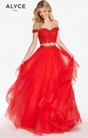Alyce Paris Red Two Piece Bedazzled Tulle Ballgown
