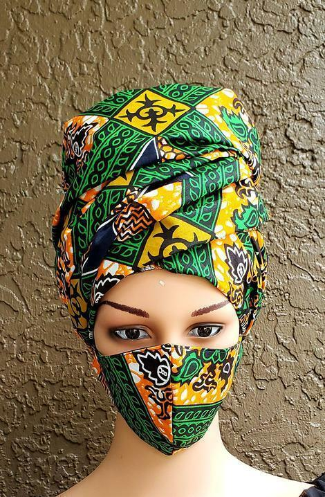 African Print Mask and Scarf Headwrap Head Wrap Set - Green