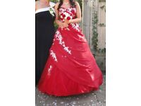 Red Wedding dress with white embroidered detail
