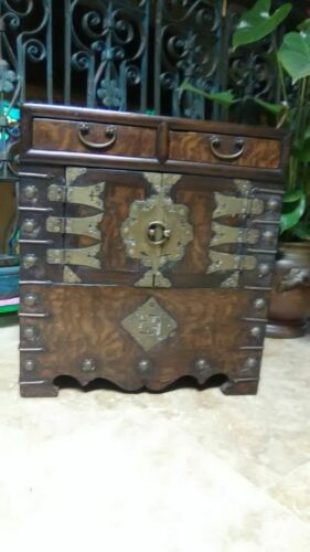 Antique Korean Burlwood veneer miniature cabinet with brass