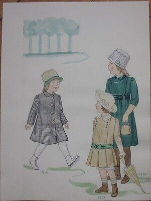 Original Art/Hand-Painted Children's Fashion Painting: 1913-1918