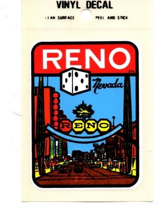 Lot of 12 Reno Nevada Souvenir Luggage Decals Stickers - New - Free S&H