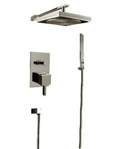 Square Brushed Nickel Rain Style Head Bath Bathroom Handheld Shower Faucet Set