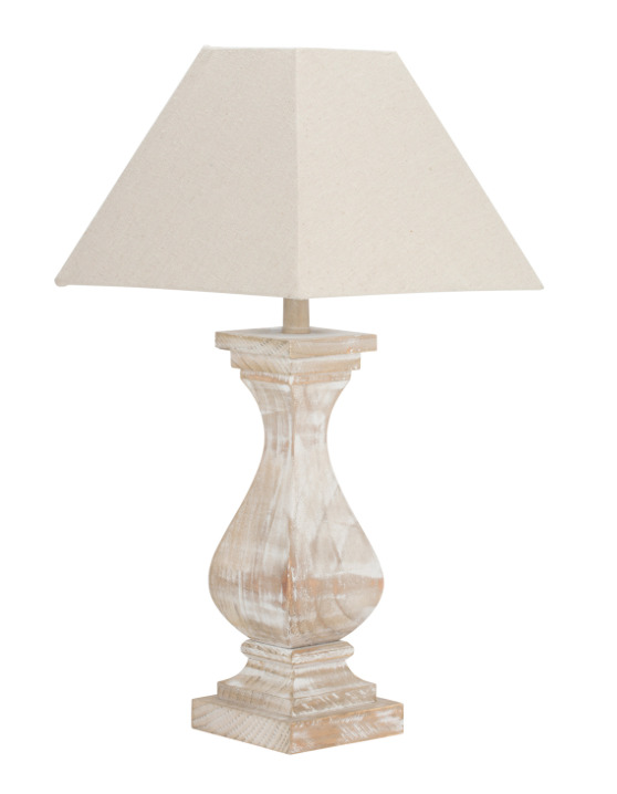 Antique Style Natural Distressed Brown Wood White Washed Table Desk Lamp 55cm