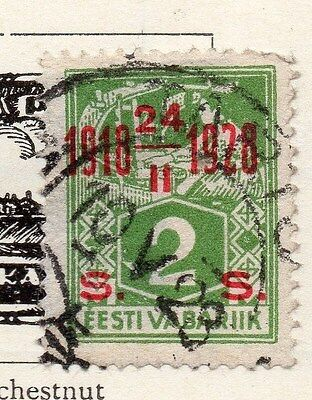 Estonia 1928 Early Issue Fine Used 2s. Optd 087889