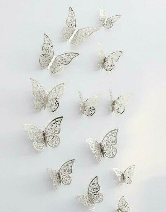 Home Decoration - 12 Silver Butterfly Wall Stickers 3D Metallic Home Decals Room Decorations Decor