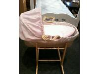 pink moses basket and rocking stand like new