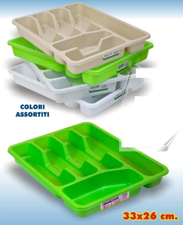 Porta Posate a Cassetto In Plastica 6 Scomparti 33x26cm Colorato moc