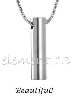 Cylinder Keepsake - Silver Cylinder Cremation Keepsake Memorial Urn Necklace Ash Holder Ashes