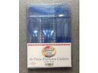 NEW - Picnic 16 Piece Blue Plastic Cutlery Set with Tray. £2