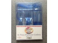 Cutlery - NEW 16 piece blue plastic cutlery with tray - £2
