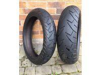 Pair of Bridgestone Battlax BT57R Motorcycle Tyres, barely used. Front 120x70/17, Rear 160x60/17
