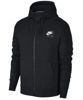 Men's New Nike Air Zip Hoodie Hoody Hooded Sweatshirt Jumper Pullover - Black
