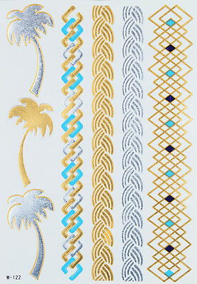 FLASH GOLD Tattoos Klebe Einmaltattoos Festivals Palmen Armbänder W-122c