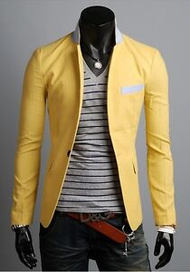 2014 New Fashion Mens Slim Fit Casual One Button Suit Coat Jacket Blazers
