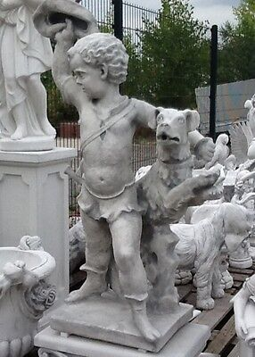 Gartenfigur, Trompeter mit Hund Skulpturen Menschen, Steinguss 145 cm Gartendeko